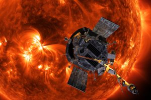 Parker Solar Probe in front of the sun (rendering)